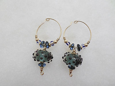Earrings Murano Glass Beads on Gold Tone Metal Hoop Pierced Ears