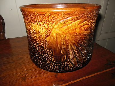 Brush Pottery Rare Planter With Indians Absolutely Awesome Piece