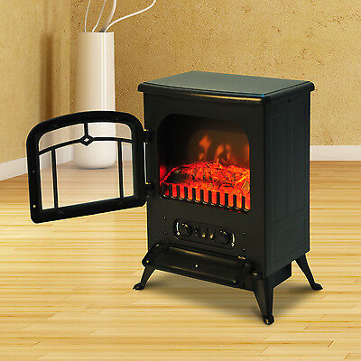 Portable Electric Fireplace Tempered Glass Adjustable 1500W New 21.6""