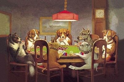 """Dogs Playing Poker Cards Funny poster 24""""x36"""" Silk Fabric Print Wall Decor 11"""