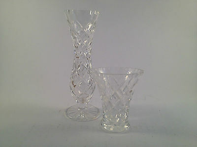 2 small vintage crystal glass vases clear