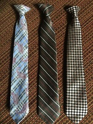 Three Clip On Ties Youth Size. 15 Inches In Length