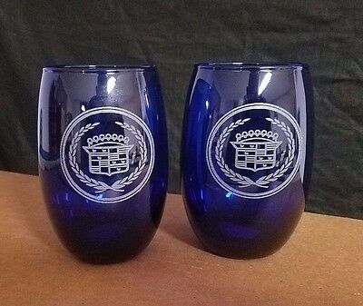 Set Of 2 Etched Nice Cobalt Stemless  Wine Glasses, Cadillac  Logos