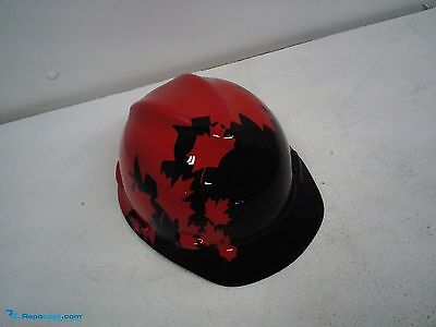 NEW  Safety Works 10082233   Black and Red Canadian Maple Leaf Pattern Hard Hat