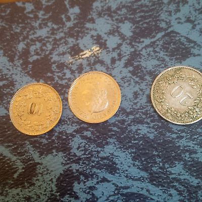 Swiss  Franc Coins x 3 1959,1975,1995 2x10 coins 1x 20 used