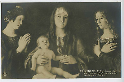 Madonna & Baby Venice Italy Gian Bellini Superb Vintage Art Postcard 17