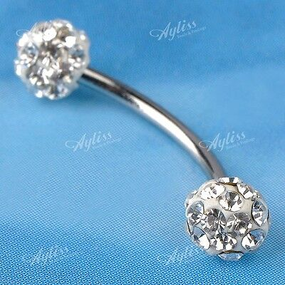 1pcs 18g Clear CZ Steel Ball Barbell Curved Bar Eyebrow Ring Body Piercing