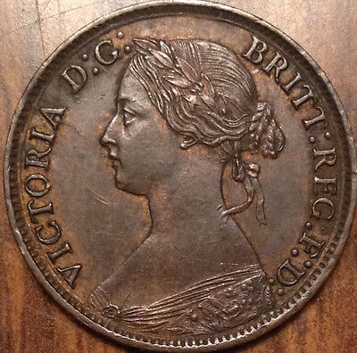 1865 Uk Great Britain Farthing A Remarkable Example Very Near Mint Traces Of Red