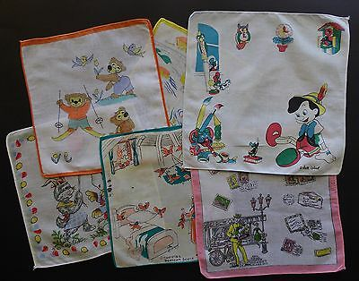Lot of 6 Vintage CHILDREN'S HANDKERCHIEFS - Incl DISNEY