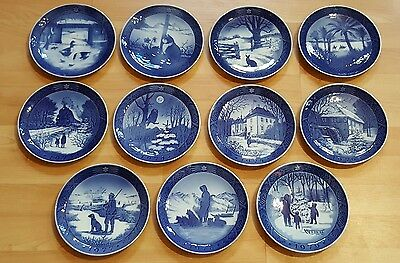 VINTAGE ROYAL COPENHAGEN B & G COMPLETE SET CHRISTMAS PLATES FROM 1969 thru 1979