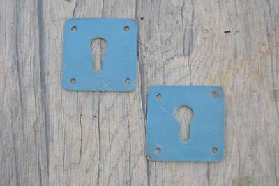 Vintage Iron Drawer Dresser Jewelery Grey Painted ESCUTCHEON Key hole Cover