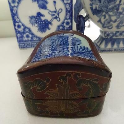 Antique Chinese Redwood & Black Lacquer & Porcelain Small Lidded Box