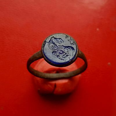 Pretty medieval bronze gem seal ring with engrave 17-18 century