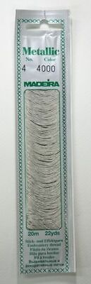 Madeira No. 4, 20m Metallic Hand Embroidery Thread, SILVER DUST Colour 4000