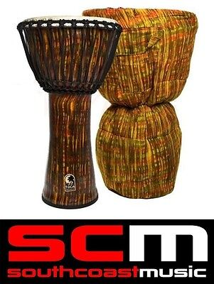 "Toca Freestyle Djembe 14"" Inch Lava Burst Synthetic Lightweight Hand Drum + Bag"