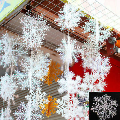 30Pcs White Snowflake Ornaments Christmas Tree Festival Party Home Decoration
