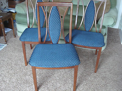 5 G Plan Dining Chairs, Blue Fabric