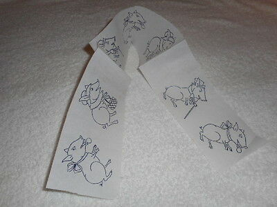 Vintage Embroidery Iron on Border- Pigs in Top Hats & Bonnets