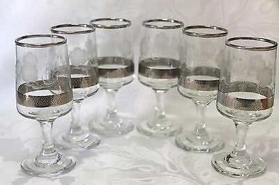 A set of retro 1960's Dema silver patterned sherry glasses
