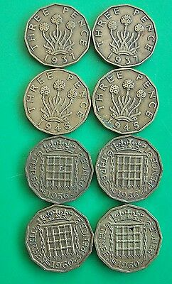 Brass 3D Coins in 4 pairs 1937-1960