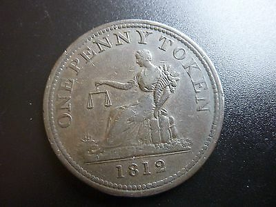 Scarce In This Condition 1812 Canada Penny Token Double Date Coin
