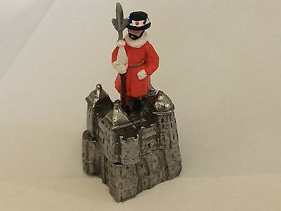 """Hand Painted Pewter Thimble """"Beefeater on the Tower of London"""""""