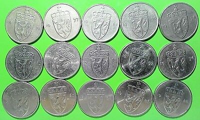 Lot 15 pc set coins Norway KM#418 rare 50 ore Olav V Norge different year 74-96