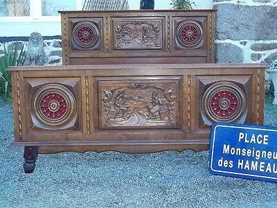 Rare Double French Antique Oak Provincial  Carved Breton Marriage Bed 140X190
