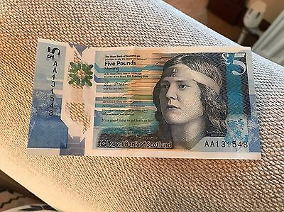 AA Royal Bank of Scotland Polymer New £5 five Pound Note