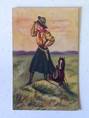 A LONG WAY HOME COWGIRL WITH HORSE SIGNED REYNOLDS Vtg Divided Back Postcard 948