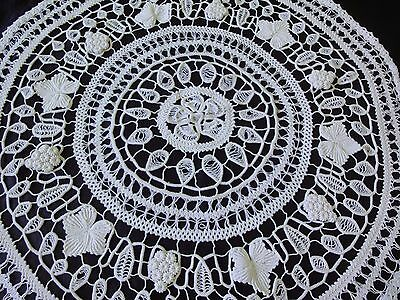 Gorgeous Antique Handmade with Unique Technique Cotton Crochet Round Tablecloth