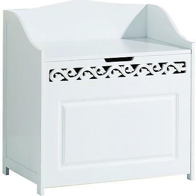 Laundry Bathroom Clothes Towels Hamper Basket w/ Storage Bench Shelf - White