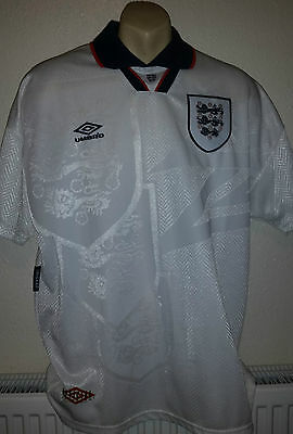 ENGLAND 1994 WC vintage FOOTBALL shirt jersey trikot HOME L white Umbro