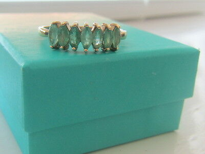 9k Yellow Gold Genuine Real Emerald Ring
