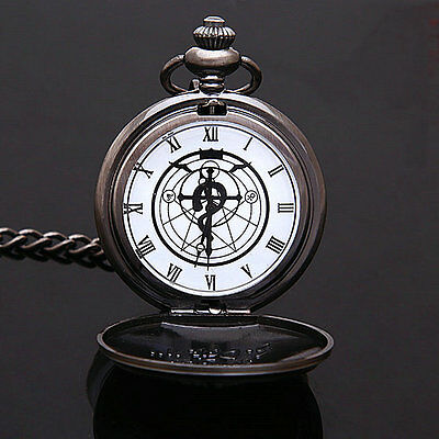 Cosplay Fullmetal Alchemist Stainless Steel Pocket Watch With Box Gun Color