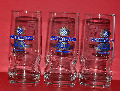 "3 Vintage Paulaner Munchen Beer Glasses Md Germany 5.5"" Tall Each"