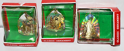3 Vintage Classic Gold Silver Nativity Religious Metal Christmas Ornaments New