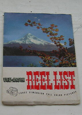 Vintage - Sawyers Viewmaster - Rare Reel List  - Published Sept. 1952