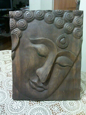 Hand carved Buddha on solid Wooden panel- Wall hanging