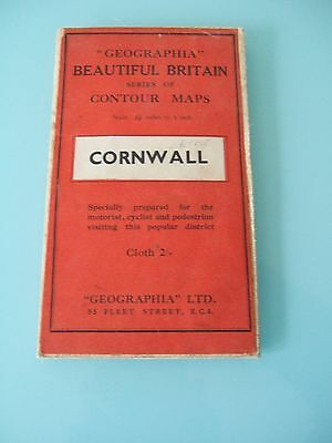 Vintage Geographia Beautiful Britain Cornwall Cloth Map