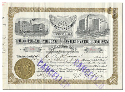 Colorado Milling and Elevator Company Stock Signed by John Kernan Mullan