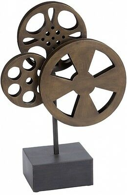 Home Theater Decor Antique Brown Room Accessories Metal Movie Reel Sculpture