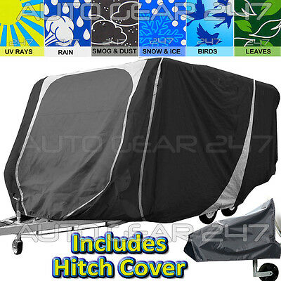 14 -17 ft Heavy Duty 3 Ply Breathable Water Resistant Caravan & Hitch Cover.C366