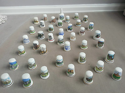 Collection of 40 porcelain thimbles of castles.