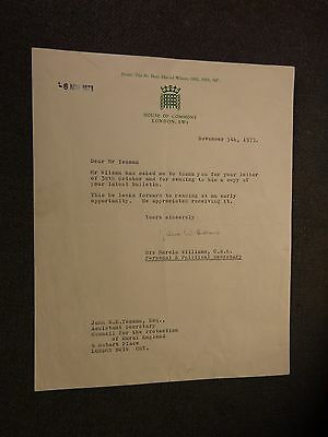 Marcia Williams Signed Letter from the house of commons 1973