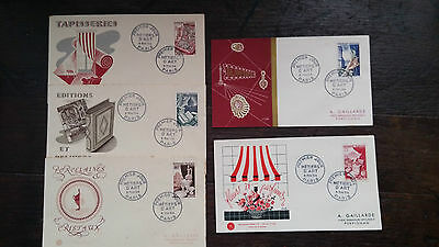 FIRST DAY COVER SERIE 5 FDC METIERS D'ART 1954  cote 90€