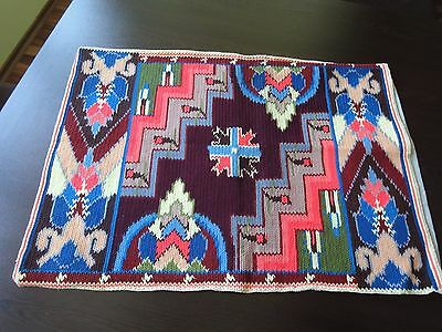 Gorgeous Vintage Hand-Embroidered Wool Cotton Multi-Color Pillowcase