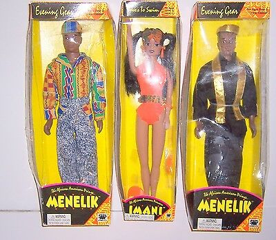 Lot Of 3 Doll Imani & Menelik The African American Prince/princss Toy 1994 Rare