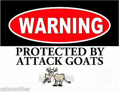 METAL MAGNET Warning Protected By Attack Goats Goat Humor MAGNET