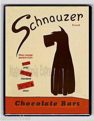 METAL MAGNET Schnauzer Brand Chocolate Bars Food Dog Dogs MAGNET X